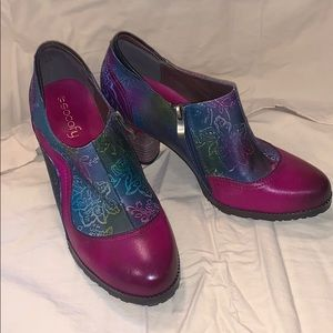 Socofy Hand Painted Leather Shoes Sz 40
